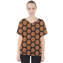 Hexagon2 Black Marble & Rusted Metal V Neck Dolman Drape Top