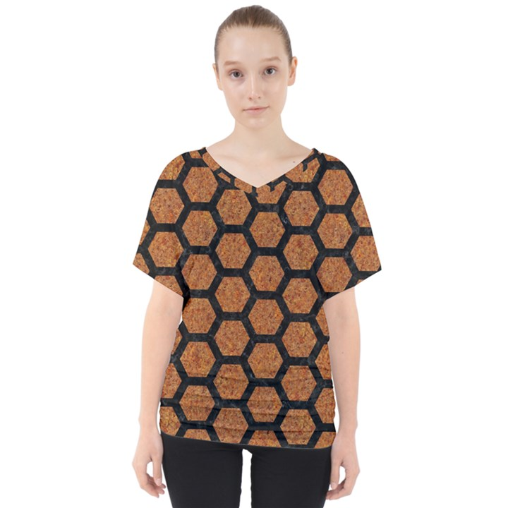 HEXAGON2 BLACK MARBLE & RUSTED METAL V-Neck Dolman Drape Top