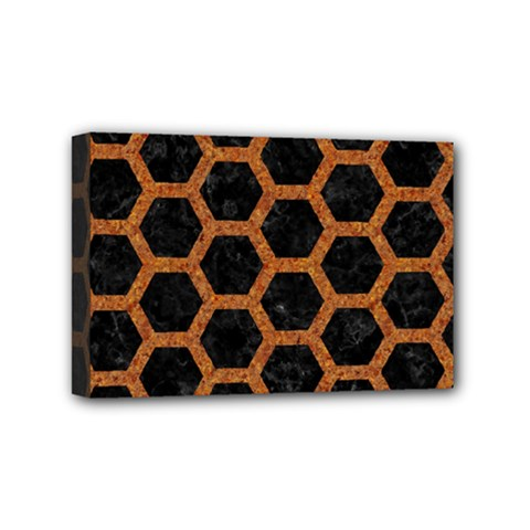 HEXAGON2 BLACK MARBLE & RUSTED METAL (R) Mini Canvas 6  x 4