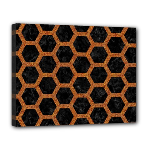 HEXAGON2 BLACK MARBLE & RUSTED METAL (R) Canvas 14  x 11