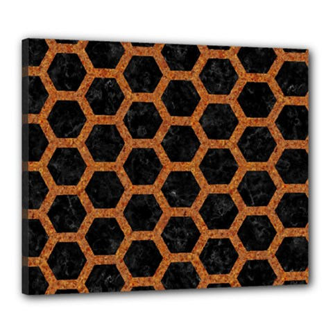 HEXAGON2 BLACK MARBLE & RUSTED METAL (R) Canvas 24  x 20