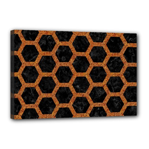 HEXAGON2 BLACK MARBLE & RUSTED METAL (R) Canvas 18  x 12