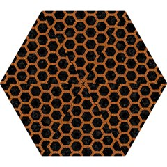 HEXAGON2 BLACK MARBLE & RUSTED METAL (R) Mini Folding Umbrellas