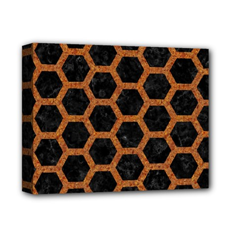 HEXAGON2 BLACK MARBLE & RUSTED METAL (R) Deluxe Canvas 14  x 11