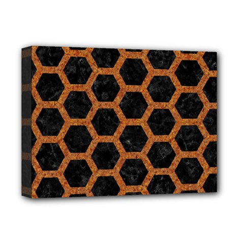 HEXAGON2 BLACK MARBLE & RUSTED METAL (R) Deluxe Canvas 16  x 12