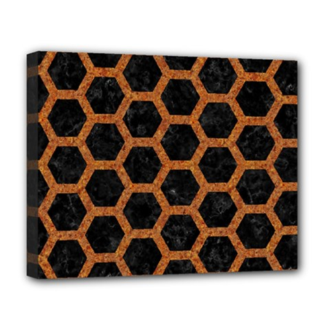 HEXAGON2 BLACK MARBLE & RUSTED METAL (R) Deluxe Canvas 20  x 16