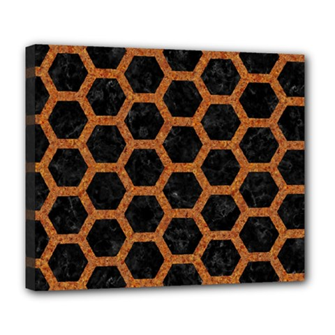 HEXAGON2 BLACK MARBLE & RUSTED METAL (R) Deluxe Canvas 24  x 20