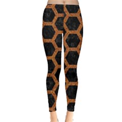 HEXAGON2 BLACK MARBLE & RUSTED METAL (R) Leggings