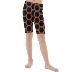 HEXAGON2 BLACK MARBLE & RUSTED METAL (R) Kids  Mid Length Swim Shorts
