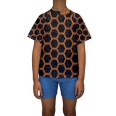 HEXAGON2 BLACK MARBLE & RUSTED METAL (R) Kids  Short Sleeve Swimwear