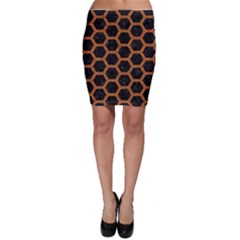 HEXAGON2 BLACK MARBLE & RUSTED METAL (R) Bodycon Skirt