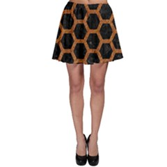 HEXAGON2 BLACK MARBLE & RUSTED METAL (R) Skater Skirt