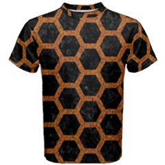 HEXAGON2 BLACK MARBLE & RUSTED METAL (R) Men s Cotton Tee