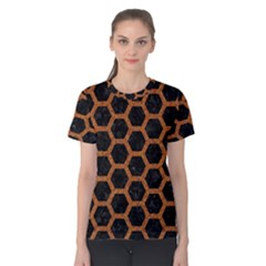 HEXAGON2 BLACK MARBLE & RUSTED METAL (R) Women s Cotton Tee