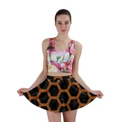 HEXAGON2 BLACK MARBLE & RUSTED METAL (R) Mini Skirt