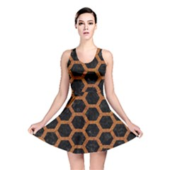 HEXAGON2 BLACK MARBLE & RUSTED METAL (R) Reversible Skater Dress
