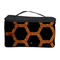 Hexagon2 Black Marble & Rusted Metal (r) Cosmetic Storage Case by trendistuff
