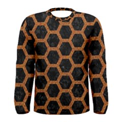 HEXAGON2 BLACK MARBLE & RUSTED METAL (R) Men s Long Sleeve Tee