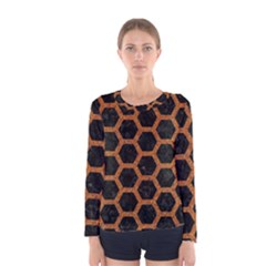 HEXAGON2 BLACK MARBLE & RUSTED METAL (R) Women s Long Sleeve Tee
