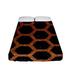 HEXAGON2 BLACK MARBLE & RUSTED METAL (R) Fitted Sheet (Full/ Double Size)