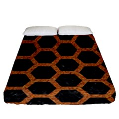 HEXAGON2 BLACK MARBLE & RUSTED METAL (R) Fitted Sheet (Queen Size)
