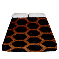 Hexagon2 Black Marble & Rusted Metal (r) Fitted Sheet (king Size) by trendistuff