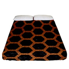Hexagon2 Black Marble & Rusted Metal (r) Fitted Sheet (california King Size) by trendistuff