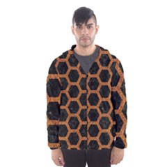 HEXAGON2 BLACK MARBLE & RUSTED METAL (R) Hooded Wind Breaker (Men)