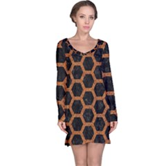 HEXAGON2 BLACK MARBLE & RUSTED METAL (R) Long Sleeve Nightdress