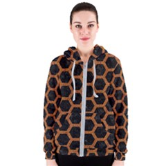HEXAGON2 BLACK MARBLE & RUSTED METAL (R) Women s Zipper Hoodie