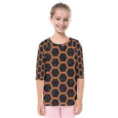 HEXAGON2 BLACK MARBLE & RUSTED METAL (R) Kids  Quarter Sleeve Raglan Tee
