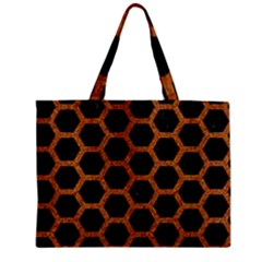 Hexagon2 Black Marble & Rusted Metal (r) Zipper Mini Tote Bag by trendistuff