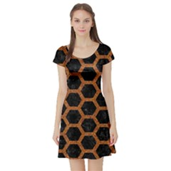 HEXAGON2 BLACK MARBLE & RUSTED METAL (R) Short Sleeve Skater Dress