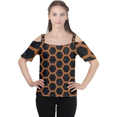 HEXAGON2 BLACK MARBLE & RUSTED METAL (R) Cutout Shoulder Tee