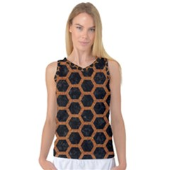 HEXAGON2 BLACK MARBLE & RUSTED METAL (R) Women s Basketball Tank Top