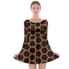 HEXAGON2 BLACK MARBLE & RUSTED METAL (R) Long Sleeve Skater Dress