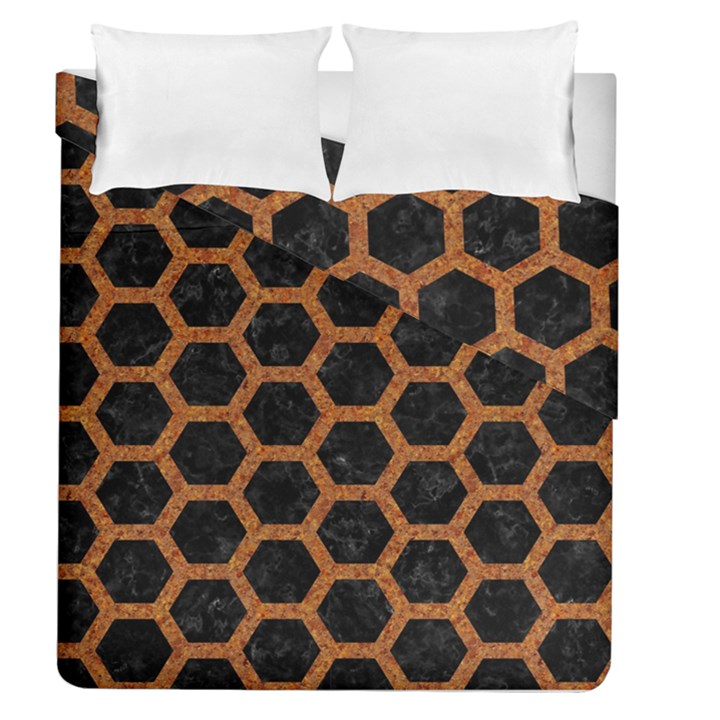 HEXAGON2 BLACK MARBLE & RUSTED METAL (R) Duvet Cover Double Side (Queen Size)