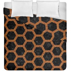 HEXAGON2 BLACK MARBLE & RUSTED METAL (R) Duvet Cover Double Side (King Size)