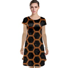 HEXAGON2 BLACK MARBLE & RUSTED METAL (R) Cap Sleeve Nightdress