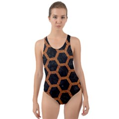 HEXAGON2 BLACK MARBLE & RUSTED METAL (R) Cut-Out Back One Piece Swimsuit