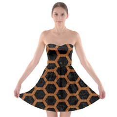 HEXAGON2 BLACK MARBLE & RUSTED METAL (R) Strapless Bra Top Dress