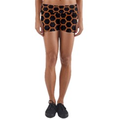 HEXAGON2 BLACK MARBLE & RUSTED METAL (R) Yoga Shorts