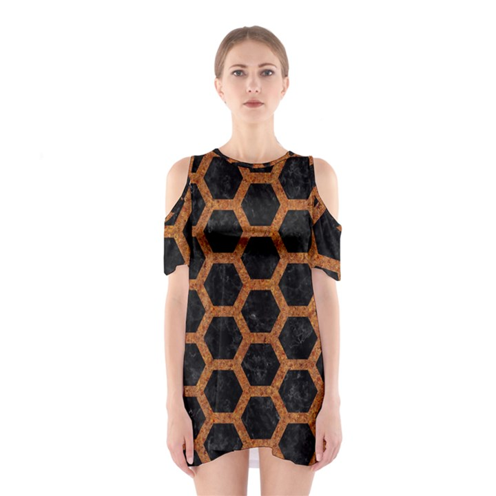 HEXAGON2 BLACK MARBLE & RUSTED METAL (R) Shoulder Cutout One Piece