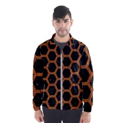 HEXAGON2 BLACK MARBLE & RUSTED METAL (R) Wind Breaker (Men)