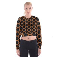 HEXAGON2 BLACK MARBLE & RUSTED METAL (R) Cropped Sweatshirt