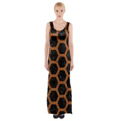 HEXAGON2 BLACK MARBLE & RUSTED METAL (R) Maxi Thigh Split Dress
