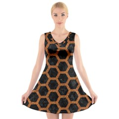 HEXAGON2 BLACK MARBLE & RUSTED METAL (R) V-Neck Sleeveless Skater Dress