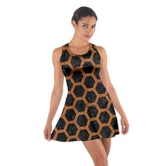 HEXAGON2 BLACK MARBLE & RUSTED METAL (R) Cotton Racerback Dress