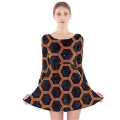 HEXAGON2 BLACK MARBLE & RUSTED METAL (R) Long Sleeve Velvet Skater Dress