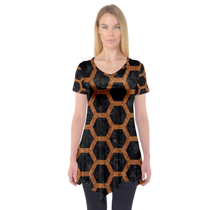 HEXAGON2 BLACK MARBLE & RUSTED METAL (R) Short Sleeve Tunic